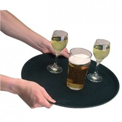 Kristallon Fibreglass Round Non Slip Tray Black 14 in