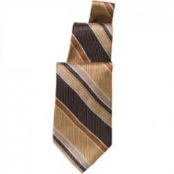Uniform Works Brown and Gold Striped Tie