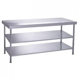 Parry Fully Welded Stainless Steel Centre Table 2 Undershelves 1200x600mm