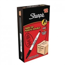 Sharpie Twin Tip Permanent Marker Black Tuck 12 Pack