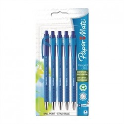 Papermate Flexgrip Retractable Ball Pen Blue Blister 5 Pack