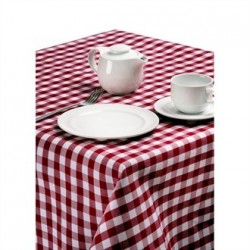 Palmar Gingham Chequered Tablecloth Red & White 70in