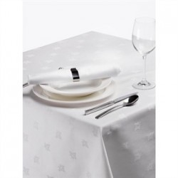 Damask Ivy Leaf Tablecloth White 70in