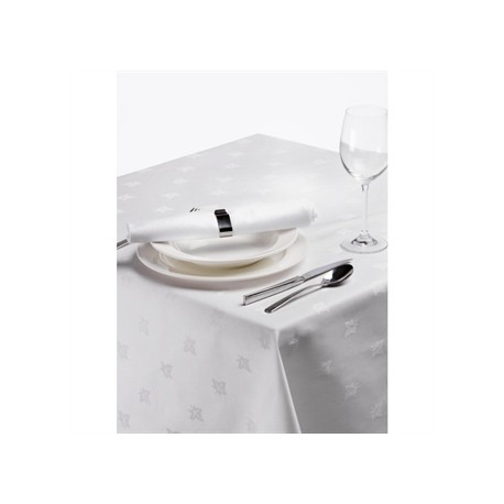 Damask Ivy Leaf Tablecloth White 90in