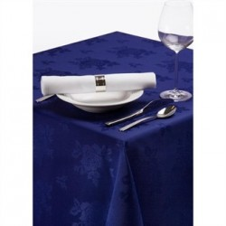 Roslin Polyester Woven Rose Royal Tablecloth Blue 54in