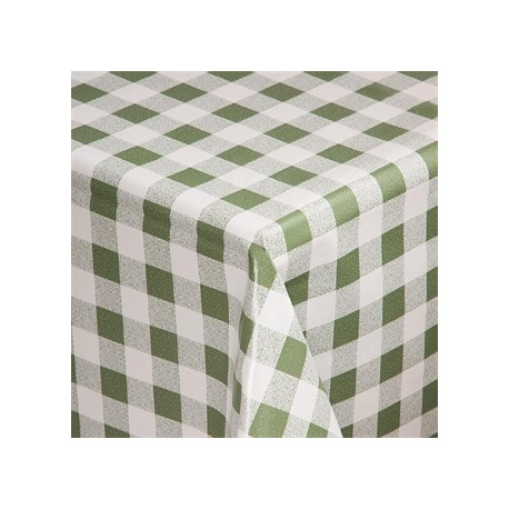 PVC Chequered Tablecloth Green 54 x 90in
