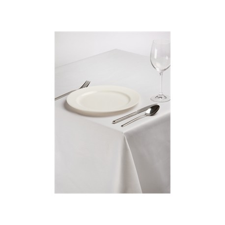 Rectangular Polycotton Tablecloth White 70 x 108in