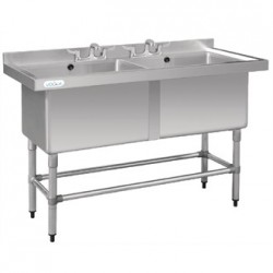 Vogue Stainless Steel Deep Double Pot Wash Sink