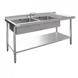 Vogue Stainless Steel Sink Double Bowl with Right Hand Drainer 1500mm