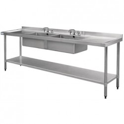 Vogue Stainless Steel Sink Double Bowl and Double Drainer 2400mm