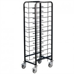 EAIS Powder Coated Enamel Clearing Trolley 12 Shelves