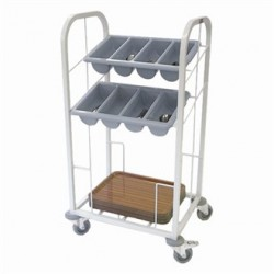 Craven Steel Two Tier Cutlery and Tray Dispense Trolley