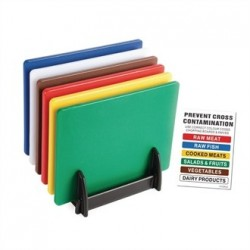 Hygiplas Standard Low Density Chopping Board Set with Rack