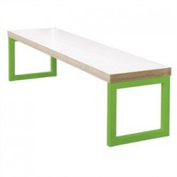 Bolero White Dining Bench White with Green Frame 6ft
