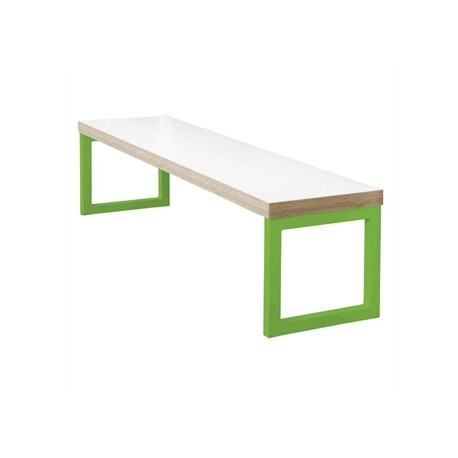 Bolero White Dining Bench White with Green Frame 6ft