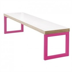 Bolero Dining  Bench White with Pink Frame 6ft