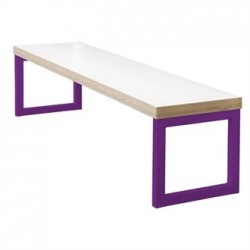 Bolero Dining Bench White with Violet Frame 3ft