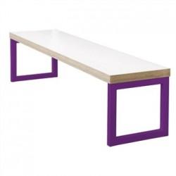 Bolero Dining Bench White with Violet Frame 6ft
