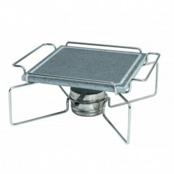 Agnelli Square Stone Plate With S/S 18/10 Holder And Fuel Can Bracket,  25 X 25cm