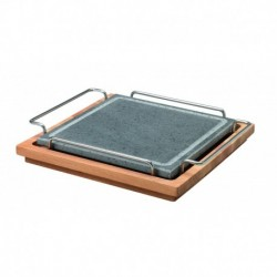 Agnelli Sqare Stone Plate With Stainless Steel 18/10 Holder And Wood Base  25X25cm