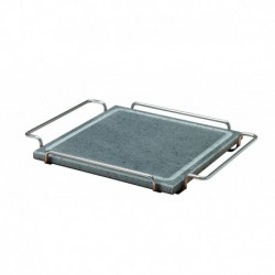Agnelli Square Stone Platewith Stainless Steel 18/10 Holder, Stone Line  25X25cm