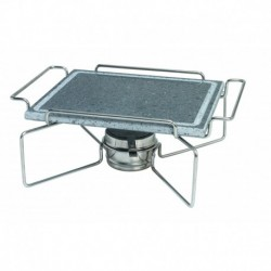 Agnelli Rect. Stone Plate With S/S 18/10 Holder And Fuel Can Bracket Stone Line  25X30cm