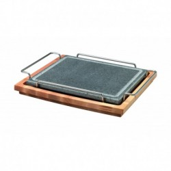 Agnelli Rect. Stone Plate With S/S 18/10 Holder And Wood Base, Stone Line  25X30cm