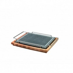 Agnelli Rectangular Stone Plate With S/S 18/10 Holder, Stone Line  25X30cm