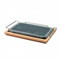 Agnelli Rect. Stone Rounded Corners Plate With S/S 18/10 Holder, Wood Base  25X35cm