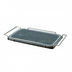 Agnelli Rect. Stone Rounded Corners Plate With Stainless Steel 18/10 Holder  25X35cm