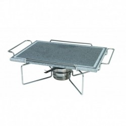 Agnelli Rect. Stone Plate With S/S 18/10 Holder And Fuel Can Bracket Stone Line  29X40cm