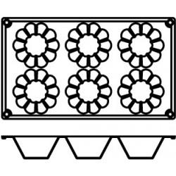 Agnelli Fluted Briochette, 3 Mats, 6 Moulds Each. Dolciflex. 79X37 cm