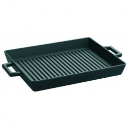 Agnelli Cast Iron Grill Tray   26X32 - Cast Iron Short Handles - Matt Black