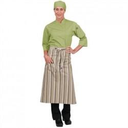Chef Works Bistro Apron Lime White Brown Stripe