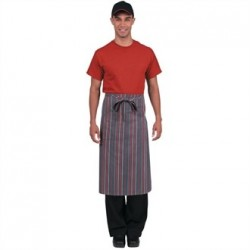 Chef Works Bistro Apron Grey Charcoal Red Stripe