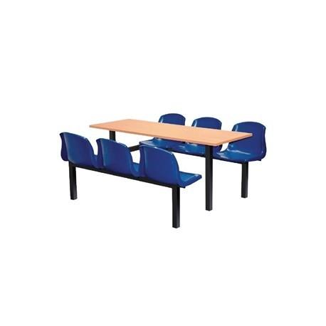 Bolero Six Seater Side Access Canteen Unit Beech and Blue
