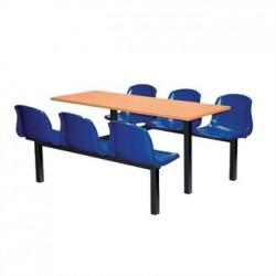Bolero Six Seater Dual Access Canteen Unit Beech and Blue