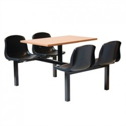 Bolero Four Seater Dual Access Canteen Unit Beech and Black