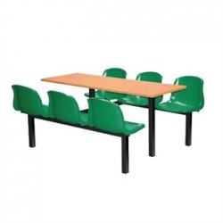 Bolero Six Seater Dual Access Canteen Unit Beech and Green