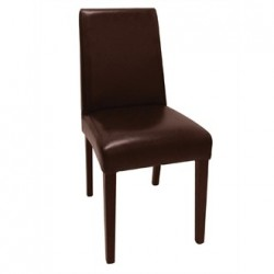 Bolero Faux Leather Dining Chairs Dark Brown (Pack of 2)