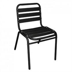 Bolero Bistro Sidechairs Aluminium Black (Pack of 4)