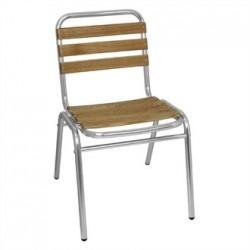Bolero Aluminium and Ash Bistro Sidechair (Pack of 4)