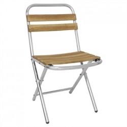 Bolero Ash and Aluminium Folding Chairs (Pack of 4)