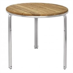 Bolero Round Ash and Aluminium Table 600mm